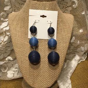 Long dangle statement earrings, blue